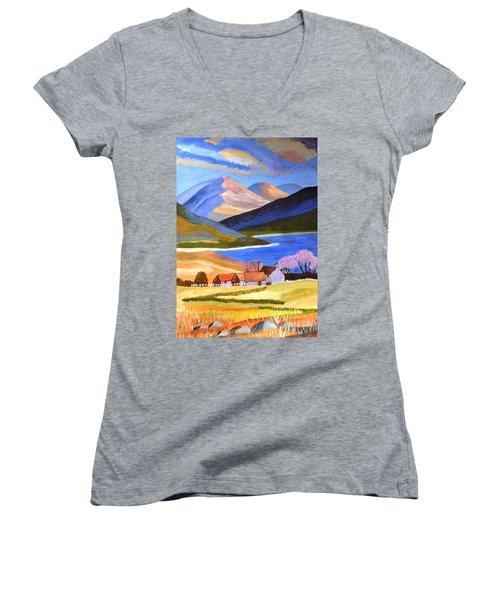 Scottish Highlands 2 Women's V-Neck T-Shirt (Junior Cut) by Magdalena Frohnsdorff