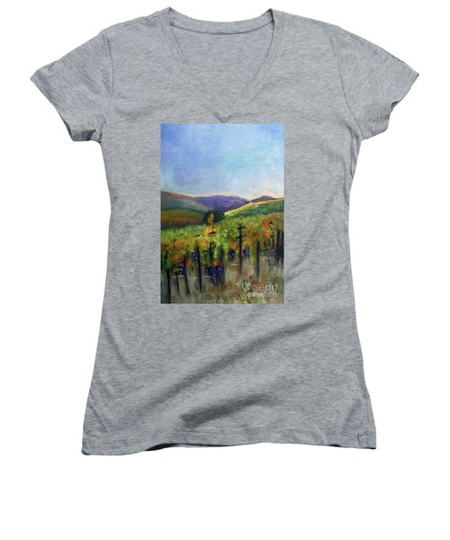 Scotts Vineyard Women's V-Neck T-Shirt (Junior Cut) by Donna Walsh