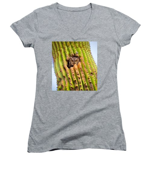 Screech Owl In Saguaro Women's V-Neck (Athletic Fit)