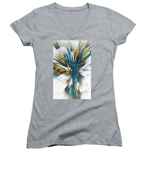 Women's V-Neck T-Shirt featuring the painting Sculptural Series Digital Painting 08.072311ex490l by Kris Haas