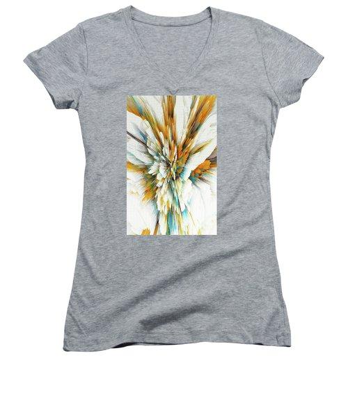 Women's V-Neck T-Shirt featuring the digital art Sculptural Series Digital Painting 05.072311ex590lvs.jpg  by Kris Haas