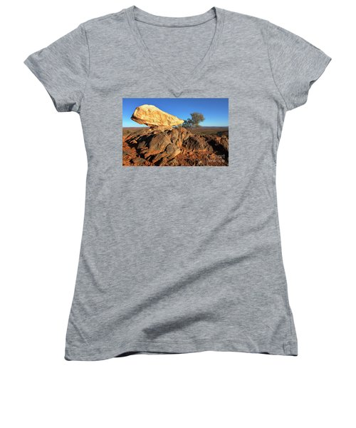 Women's V-Neck T-Shirt (Junior Cut) featuring the photograph Sculpture Park Broken Hill by Bill Robinson