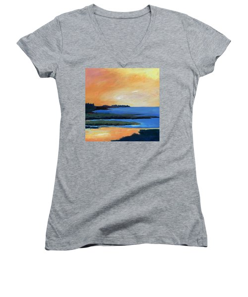 Women's V-Neck T-Shirt (Junior Cut) featuring the painting Sea And Sky by Gary Coleman
