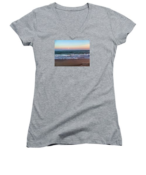 Women's V-Neck T-Shirt (Junior Cut) featuring the photograph Sea And Sky by Roberta Byram