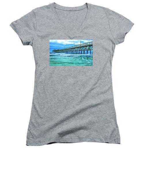 Sea Blue Cherry Grove Pier Women's V-Neck