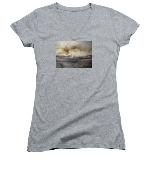 Women's V-Neck T-Shirt (Junior Cut) featuring the painting Sea Breeze by Tamara Bettencourt