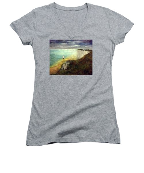 Sea, Cliffs, Beach And Lighthouse Women's V-Neck (Athletic Fit)