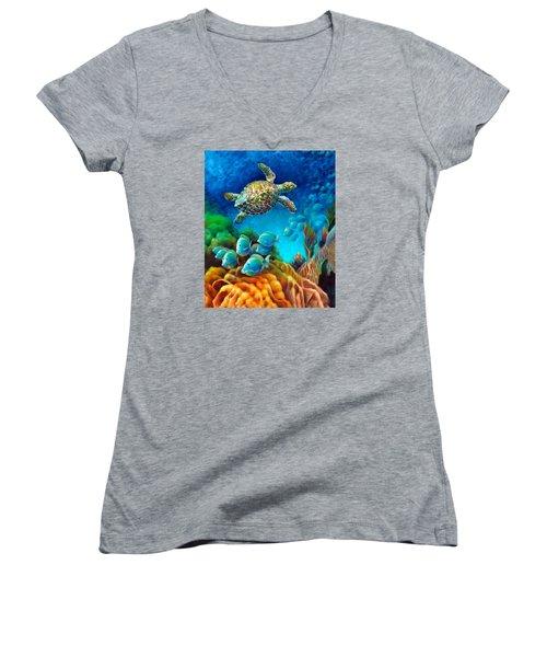 Sea Escape IIi - Gemstone Hawksbill Turtle Women's V-Neck T-Shirt (Junior Cut) by Nancy Tilles