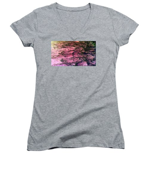 Sea Foam Pinkish Black Women's V-Neck