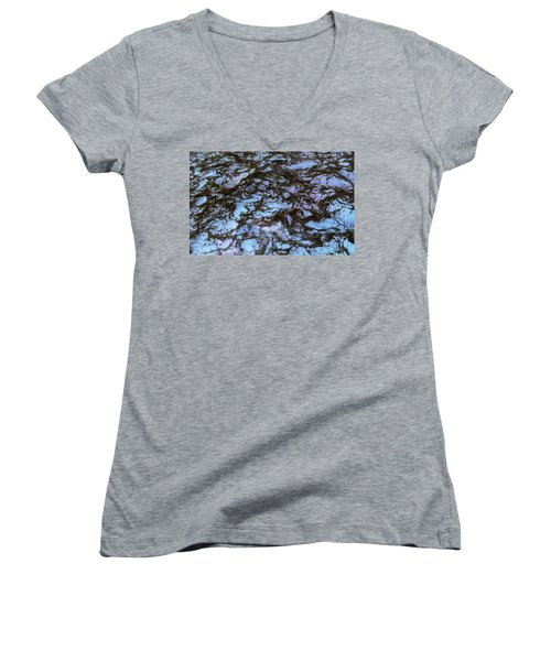 Sea Foam Black And Blue Women's V-Neck