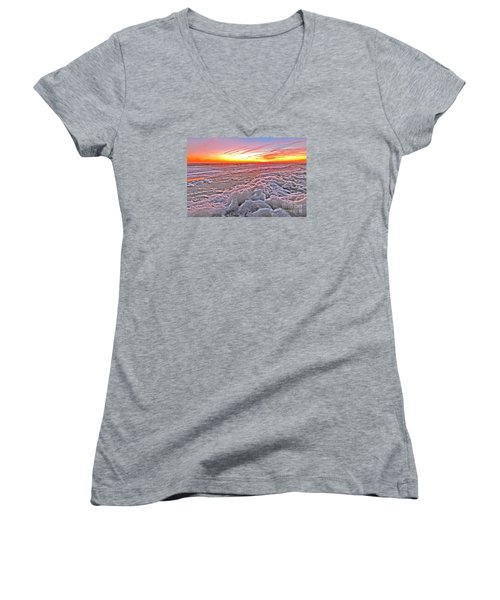 Sea Foam Sunset Women's V-Neck T-Shirt