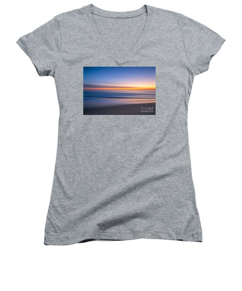 Sea Girt New Jersey Abstract Seascape Sunrise Women's V-Neck (Athletic Fit)