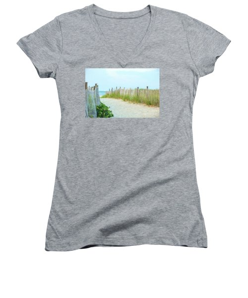 Sea Gull Beach #1 Women's V-Neck (Athletic Fit)