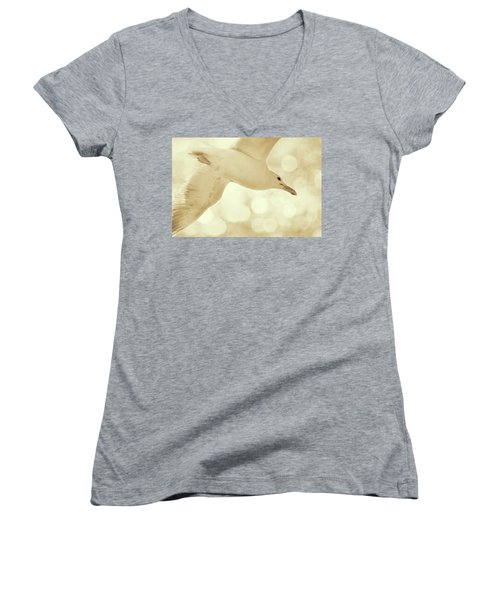 Women's V-Neck T-Shirt (Junior Cut) featuring the photograph Sea Gull On Neutral Bokeh Background by Peggy Collins