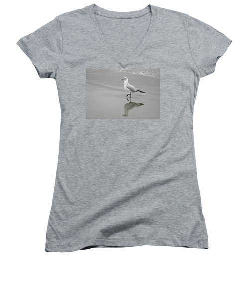 Sea Gull Walking In Surf Women's V-Neck (Athletic Fit)