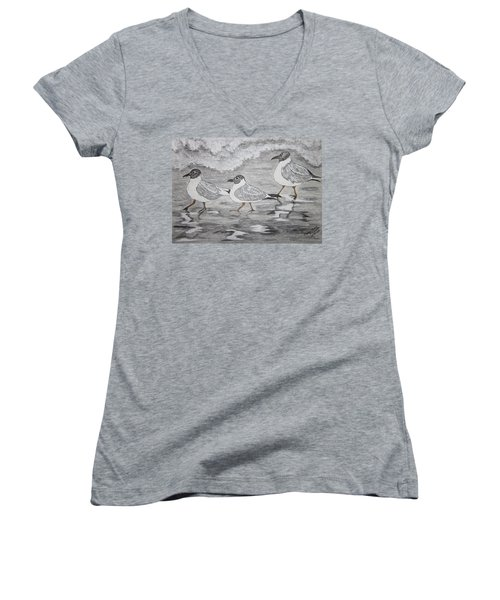 Women's V-Neck T-Shirt (Junior Cut) featuring the painting Sea Gulls Dodging The Ocean Waves by Kathy Marrs Chandler