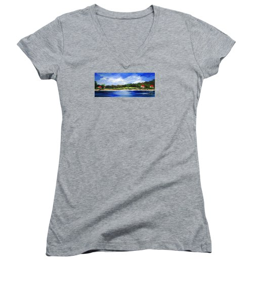 Sea Hill Houses - Original Sold Women's V-Neck T-Shirt (Junior Cut) by Therese Alcorn