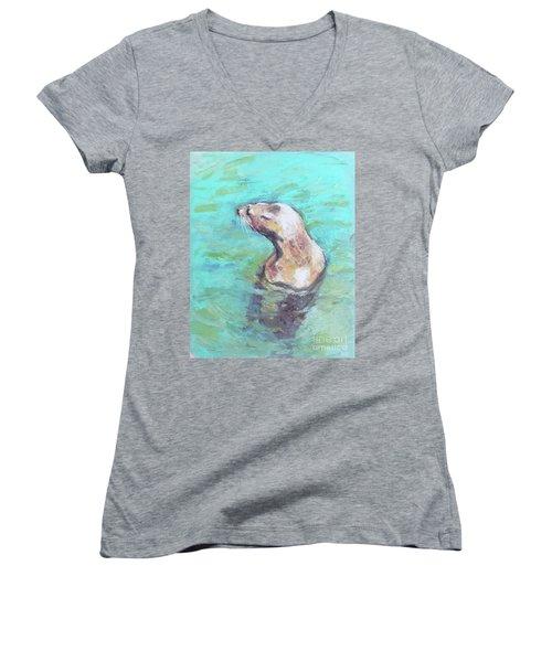 Sea Lion Women's V-Neck T-Shirt (Junior Cut) by Yoshiko Mishina