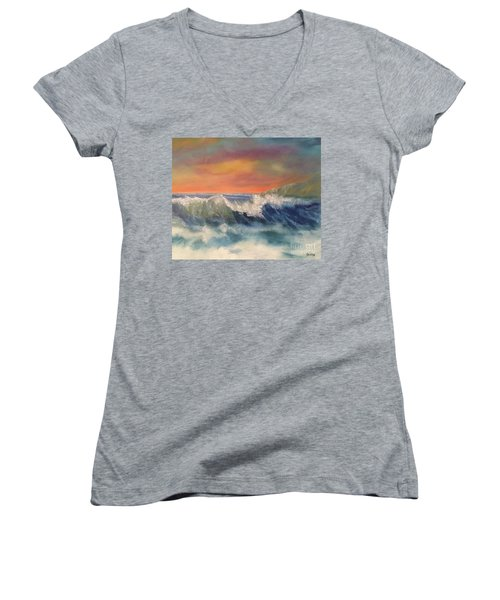 Women's V-Neck T-Shirt featuring the painting Sea Mist by Denise Tomasura