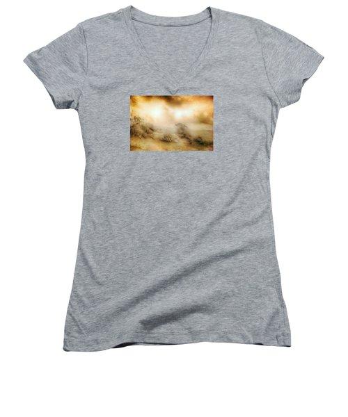Sea Oats In Paradise Women's V-Neck T-Shirt (Junior Cut) by Dan Carmichael