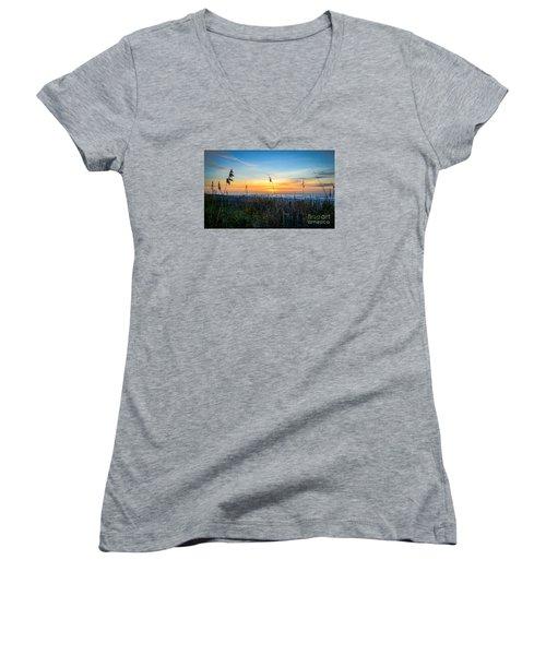 Sea Oats Sunrise Women's V-Neck T-Shirt (Junior Cut) by David Smith