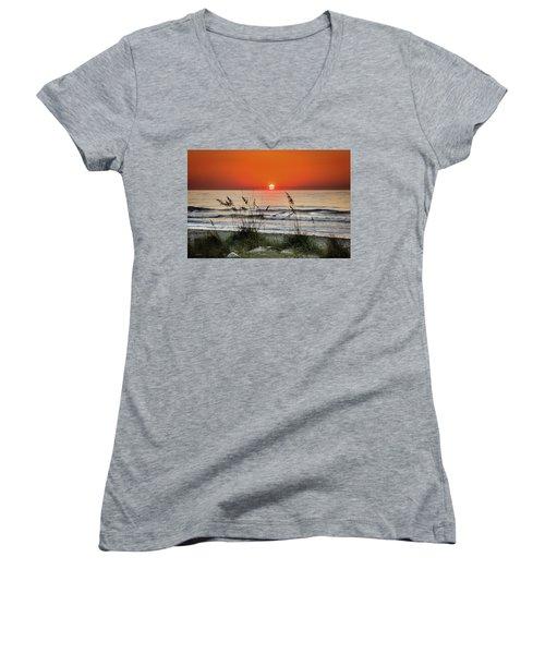 Sea Oats Sunrise Women's V-Neck T-Shirt (Junior Cut) by Phil Mancuso