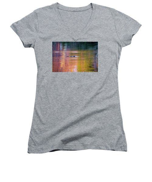 Women's V-Neck T-Shirt (Junior Cut) featuring the photograph Sea Of Color by Bill Wakeley