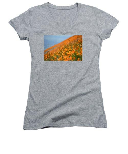 Sea Of Poppies Women's V-Neck T-Shirt (Junior Cut) by Kyle Hanson