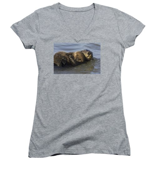 Sea Otter Mother With Pup Monterey Bay Women's V-Neck T-Shirt (Junior Cut) by Suzi Eszterhas