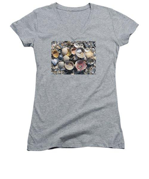 Sea Shell Mozaic Women's V-Neck T-Shirt (Junior Cut) by Ellen Meakin