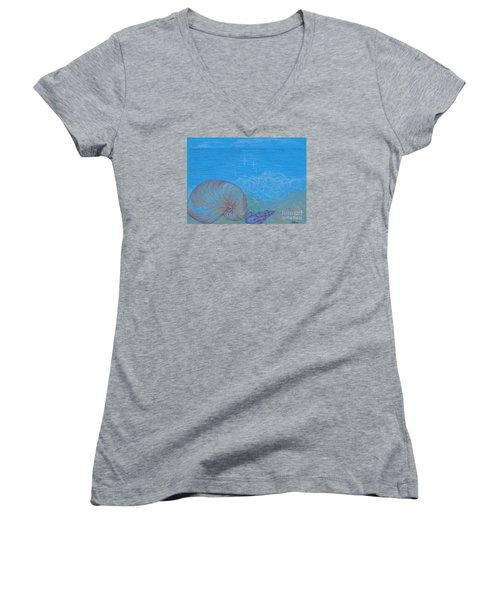 Women's V-Neck T-Shirt (Junior Cut) featuring the drawing Sea Shore by Kim Sy Ok