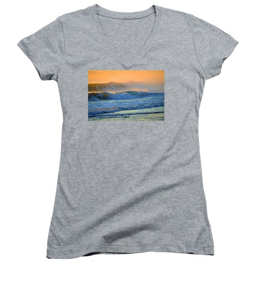 Sea Smoke Sunrise Women's V-Neck T-Shirt (Junior Cut) by Dianne Cowen