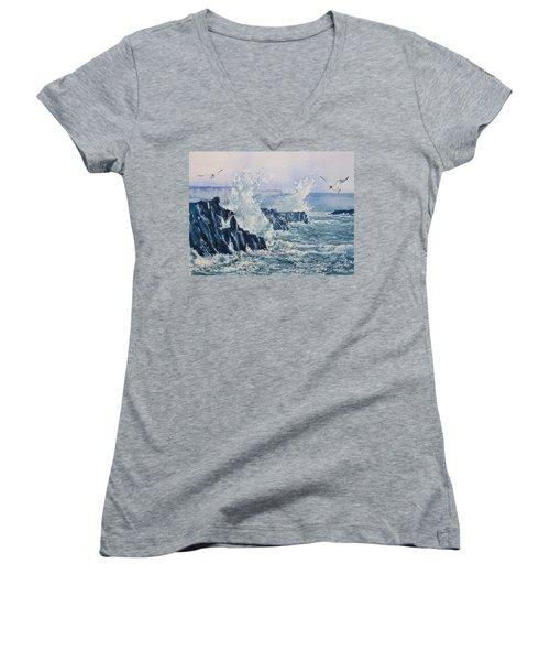 Sea, Splashes And Gulls Women's V-Neck