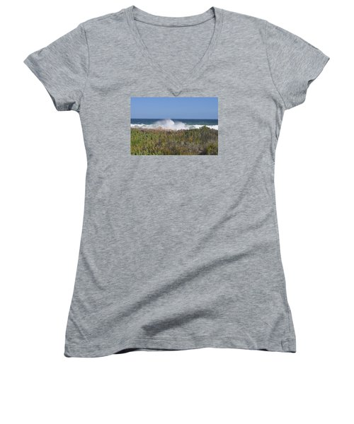 Women's V-Neck T-Shirt (Junior Cut) featuring the photograph Sea Spray by Linda Ferreira
