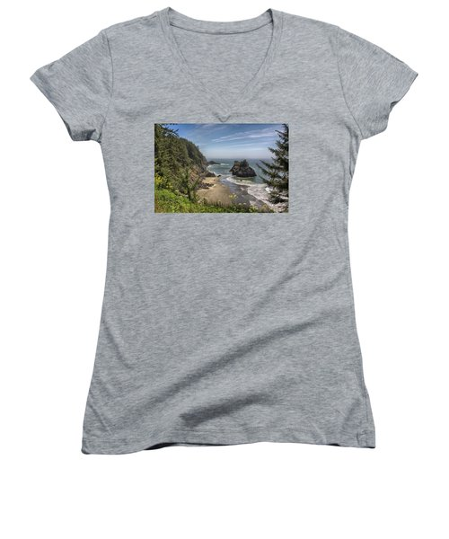 Sea Stacks And Wildflowers Women's V-Neck