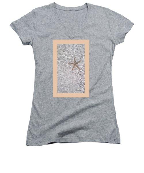 Sea Star 11 Anna Maria Island Women's V-Neck T-Shirt (Junior Cut) by Jean Marie Maggi
