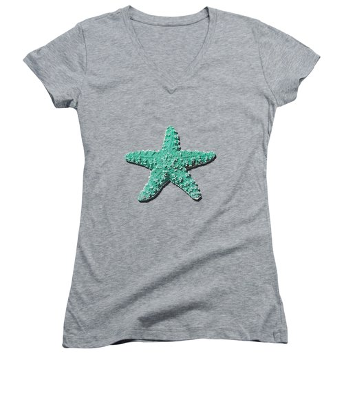 Women's V-Neck T-Shirt (Junior Cut) featuring the photograph Sea Star Aqua .png by Al Powell Photography USA