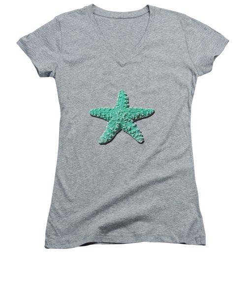 Sea Star Aqua .png Women's V-Neck (Athletic Fit)