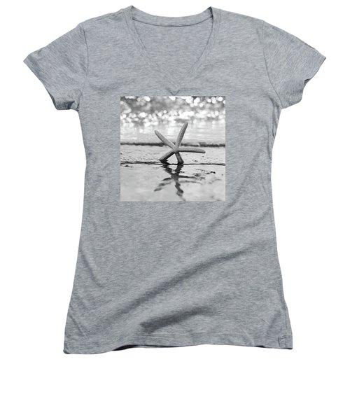 Sea Star Bw Women's V-Neck T-Shirt (Junior Cut) by Laura Fasulo