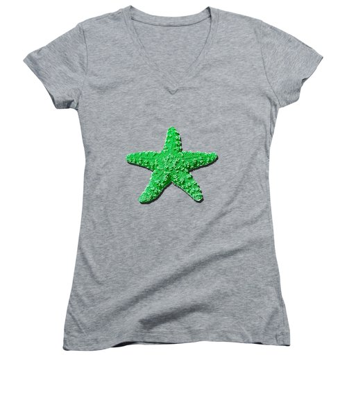 Sea Star Green .png Women's V-Neck T-Shirt (Junior Cut) by Al Powell Photography USA