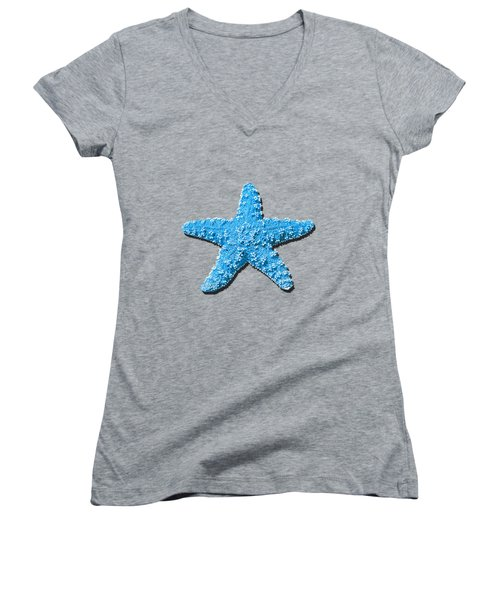 Sea Star Light Blue .png Women's V-Neck T-Shirt (Junior Cut) by Al Powell Photography USA