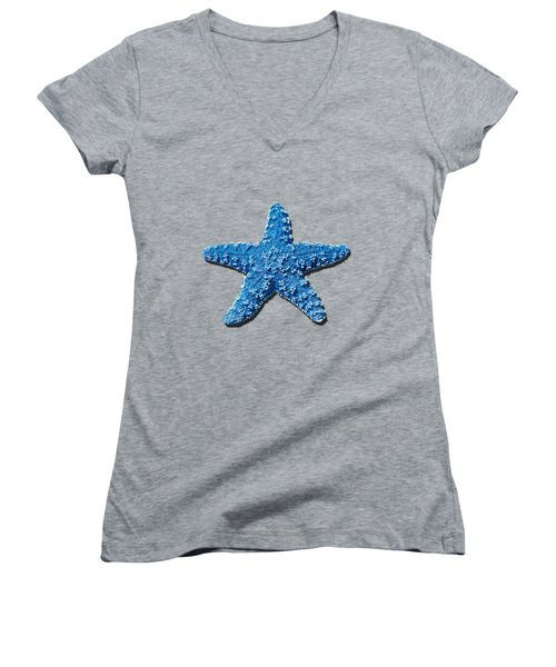 Sea Star Medium Blue .png Women's V-Neck T-Shirt (Junior Cut) by Al Powell Photography USA