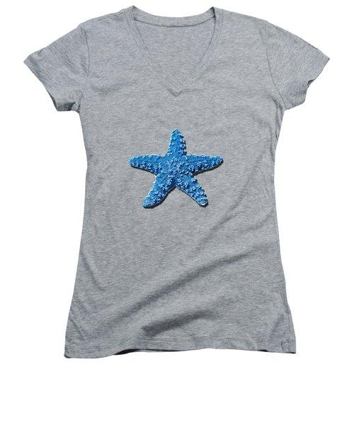 Sea Star Medium Blue .png Women's V-Neck (Athletic Fit)