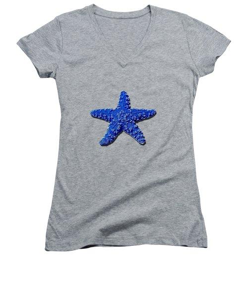 Sea Star Navy Blue .png Women's V-Neck