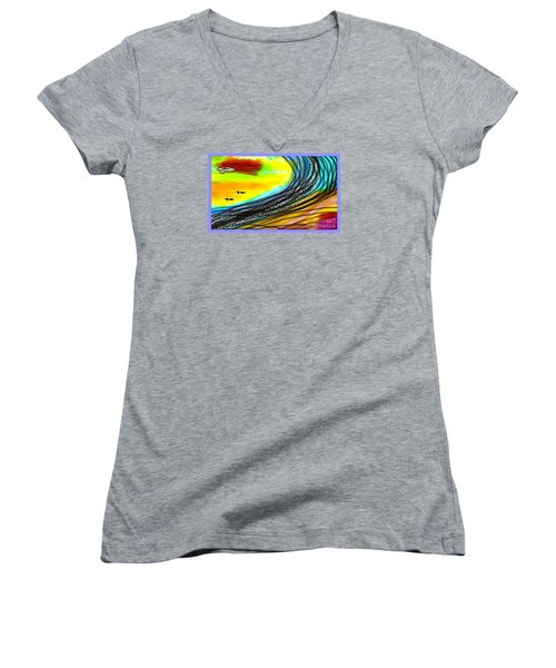Sea Women's V-Neck T-Shirt (Junior Cut) by The Art of Alice Terrill