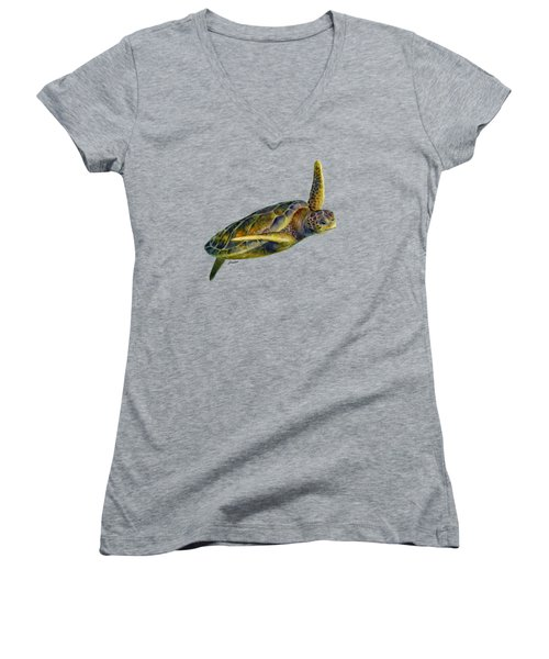 Sea Turtle 2 Women's V-Neck (Athletic Fit)