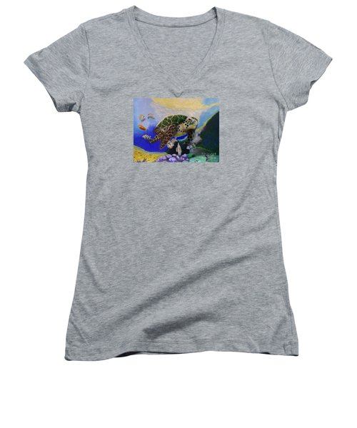 Sea Turtle Acrylic Painting Women's V-Neck