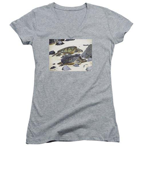Women's V-Neck T-Shirt (Junior Cut) featuring the photograph Sea Turtles by Gena Weiser
