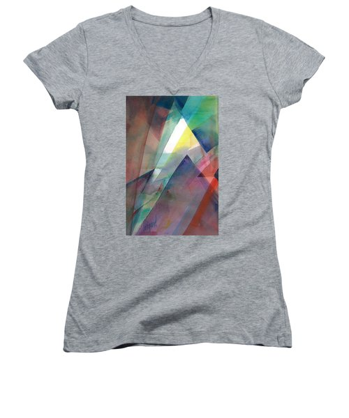 Women's V-Neck featuring the painting Sea Veils I by Carolyn Utigard Thomas