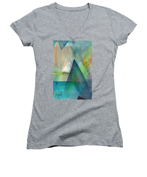 Women's V-Neck featuring the painting Sea Veils II by Carolyn Utigard Thomas